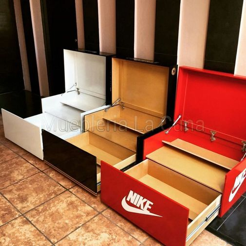 Zapatero con forma de caja de zapatos chicfy cosas for Guarda zapatos en madera