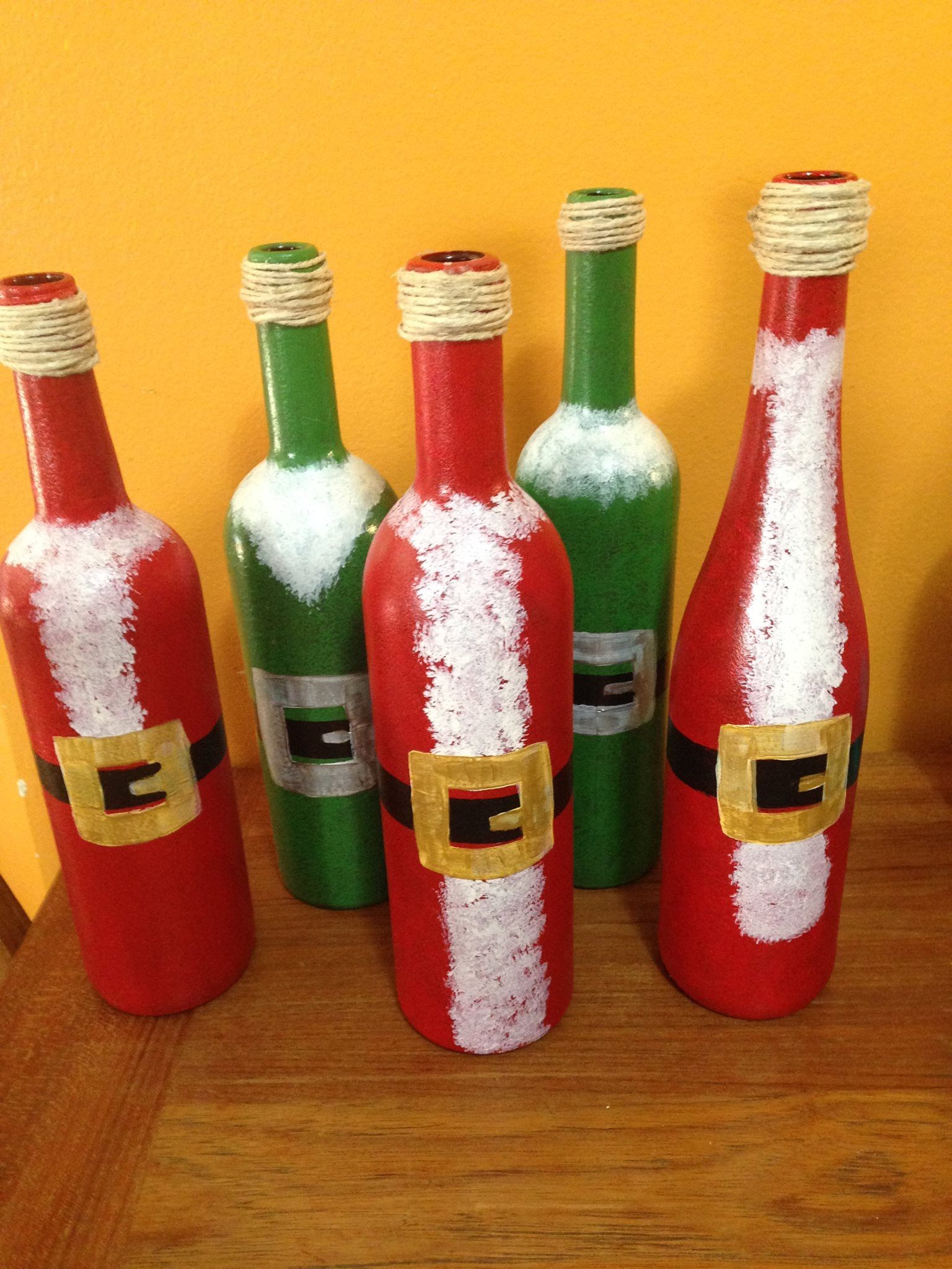 Christmas Santa And Elf Hand Painted Glass Wine Bottles By Debbie Tabora 2016 Wine Bottle Crafts Bottle Crafts Wine Bottle Diy Crafts