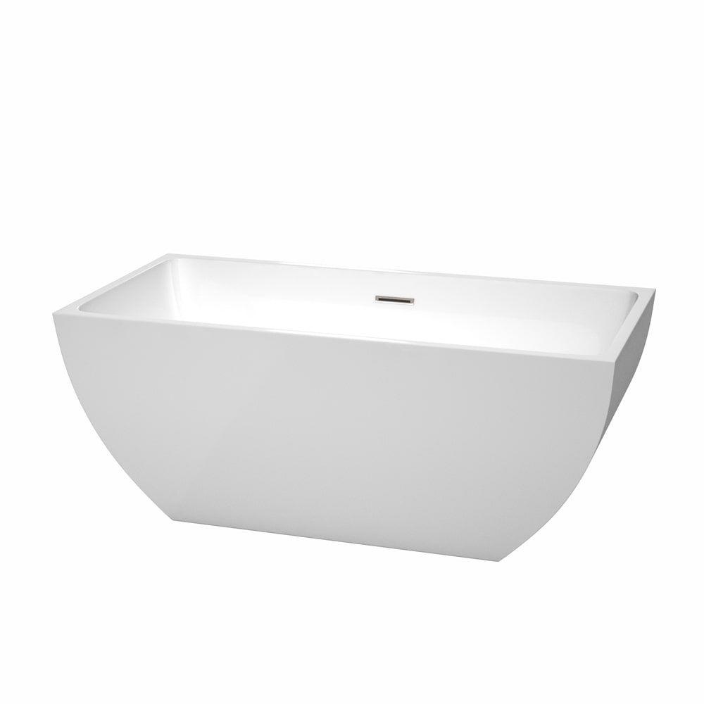 Wyndham Collection Rachel 59-inch White Acrylic Soaking Bathtub ...
