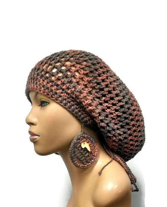 1b9612ec44b PATTERN ONLY Crochet Slouch hat Dreadlock Hat Slouchy Beanie with drawstring