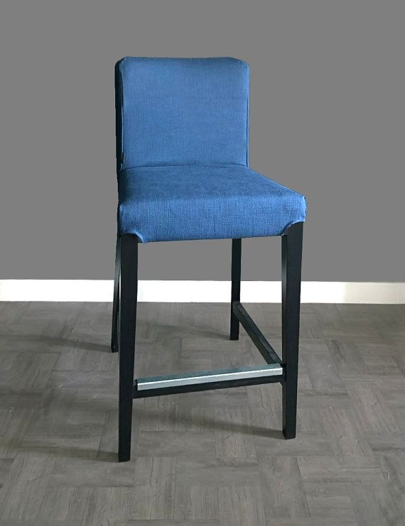 Ikea Henriksdal Bar Stool Chair Cover Solid Blue By Rockincushions