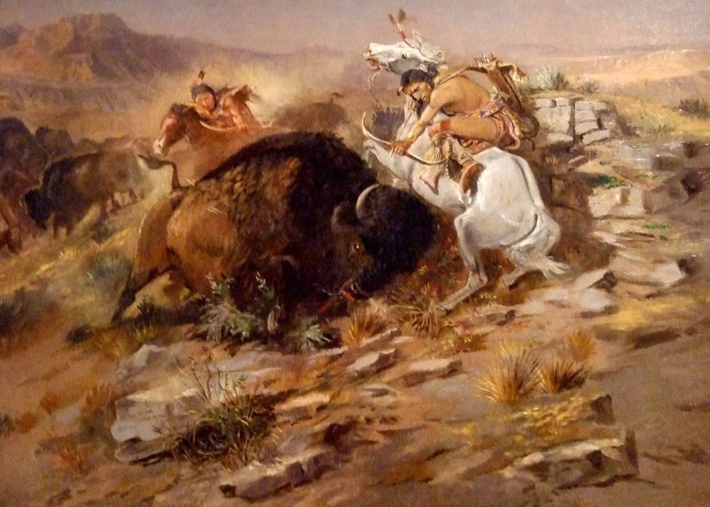 Original title:    Description English: Charles Marion Russell - Buffalo Hunt Date 16 August 2009 Source http://masterpieceart.net/charles-marion-russell/ Author Wm M. Martin