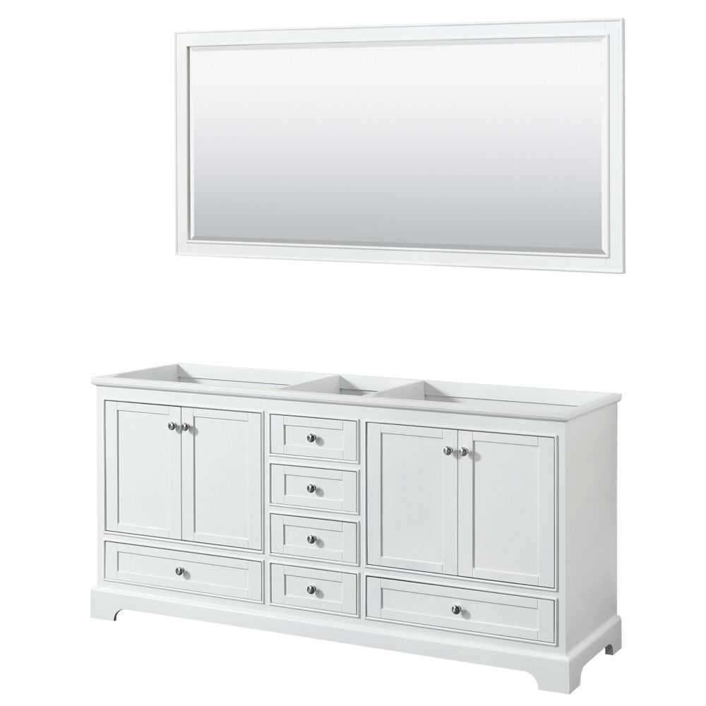 Deborah 72 Inch Double Vanity In White No Counter No Sinks 70