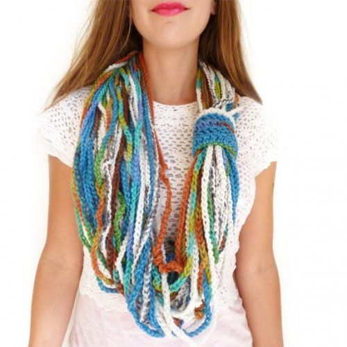 Infinity Scarf Necklace by Mademoiselle Mermaid - cant tell if the pieces are braided or knit. Definitely want to try it.