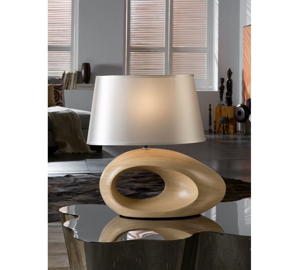 Table Lamp Made Of Resin Finished In Natural Wood Simile Or  # Muebles Lantada