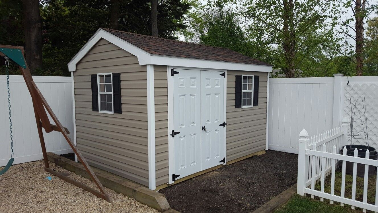 8 10 Cottage Style Shed With Double Fiberglass Doors And Vinyl Siding Shed Fiberglass Door Vinyl Siding
