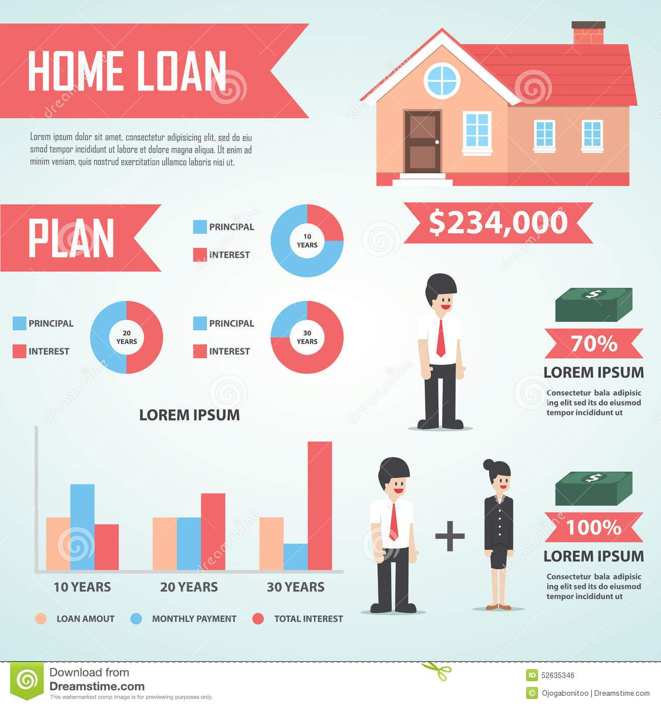 Home Loan Infographic Design Element Real Estate Stock Vector
