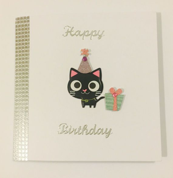 Black Cat Happy Birthday Card Party Cat In By Creationsbylindsay17 Birthday Cards Cards Handmade Happy Birthday Cards
