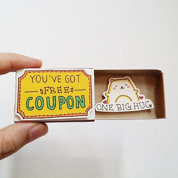 Amusant Encouragement carte Matchbox - carte de voeux chat mignon - coffret - «Vous avez eu gratuit Coupon» - «un gros câlin» - OT112