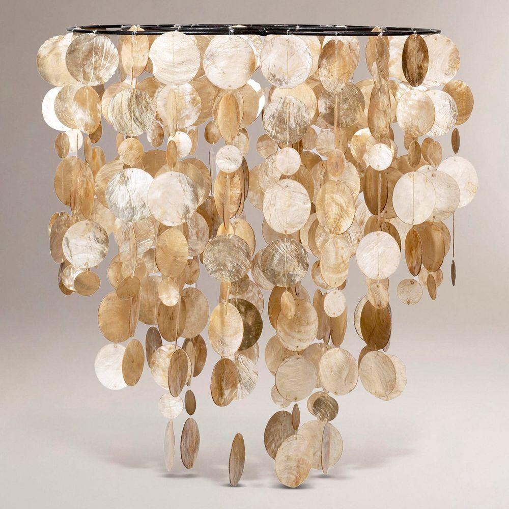 Gold capiz shell chandelier lighting pinterest capiz shell gold capiz shell chandelier arubaitofo Images
