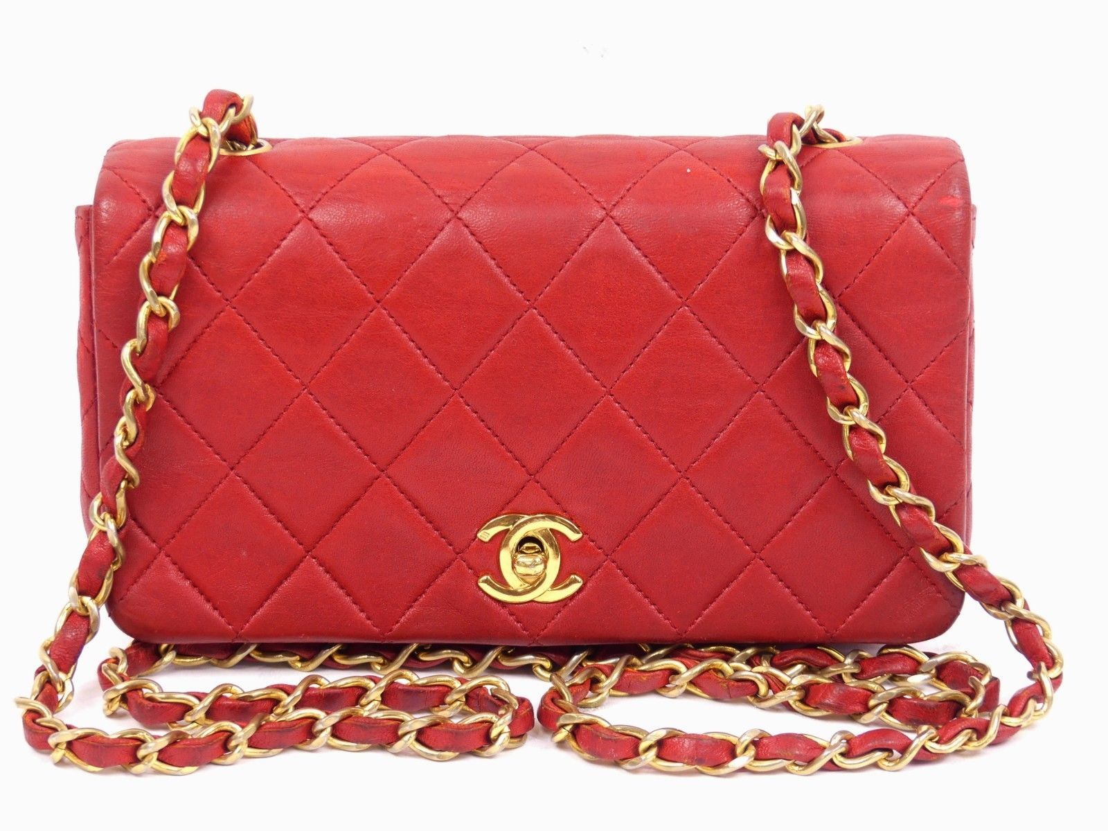 ebcca1eb370c rk331 Auth CHANEL Red Quilted Lambskin Leather CC Lock Mini Chain Shoulder  Bag $405.0