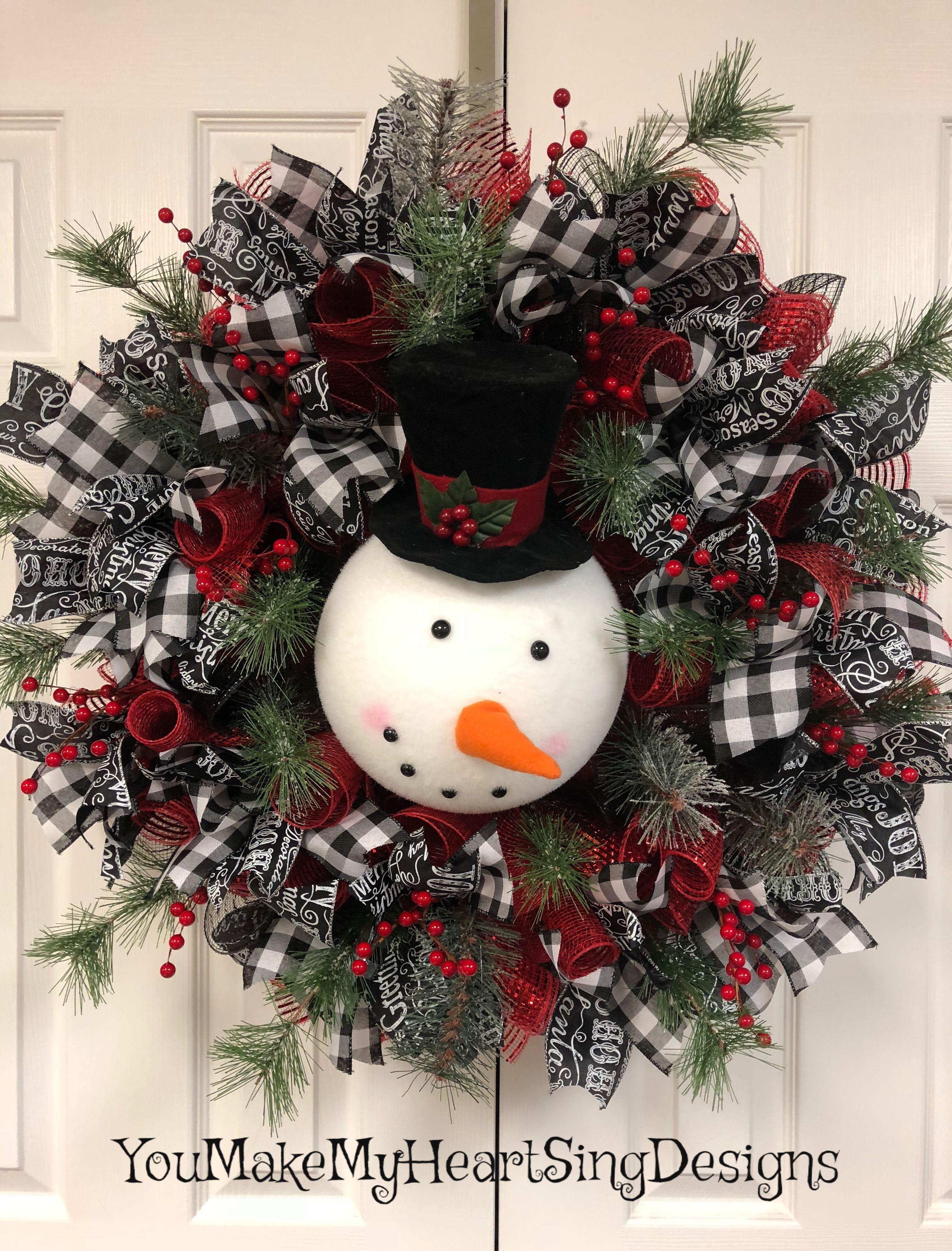 Snowman Christmas Wreath Christmas Wreaths Primitive Christmas Crafts Fun Christmas Decorations