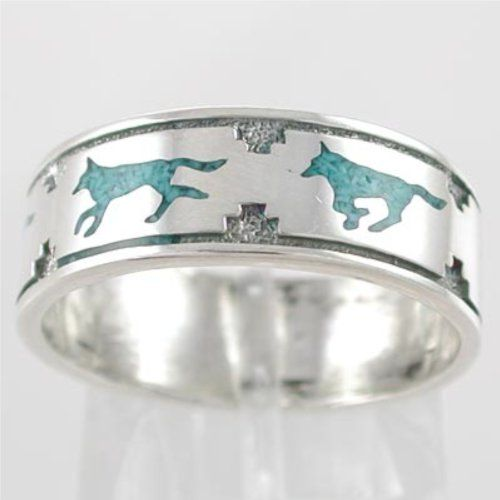 Southwestern Native American Style Running Wolf Band Ring