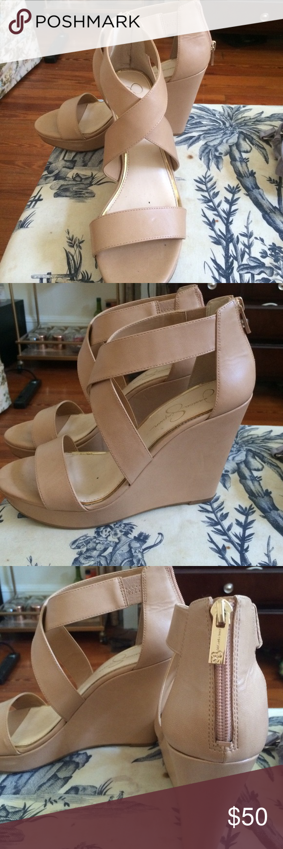 5404eea7e867 Jessica simpson nude wedges nude wedges with gold zippers on the back jessica  simpson shoes wedges