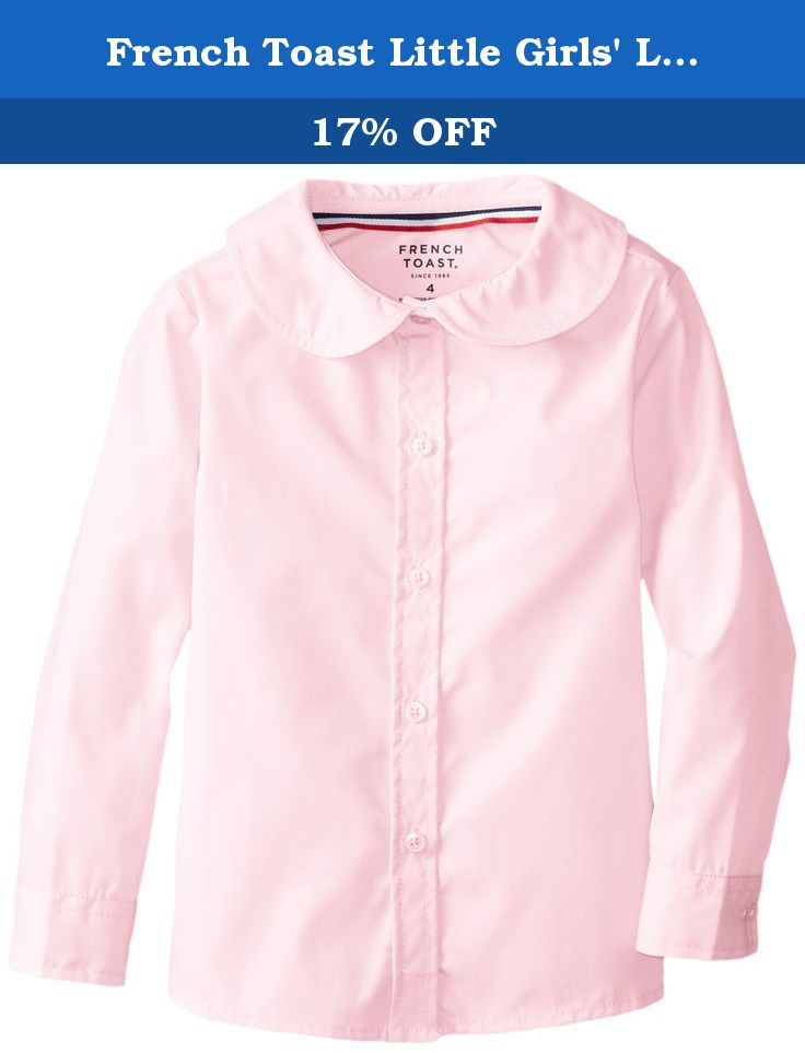 5a3ccf82178b80 French Toast Little Girls' Long Sleeve Peter Pan Blouse, Pink, 6. Girl's