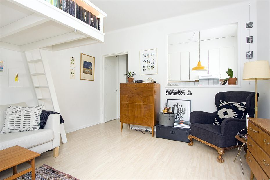 Beautiful Living In A Shoebox Small Swedish Studio Apartment Elegantly Combines Loft  Bed And Book Shelves Part 20