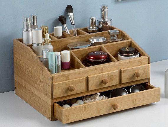Bamboo Wooden Makeup Organizer Jewelry Box Make Up Cosmetic