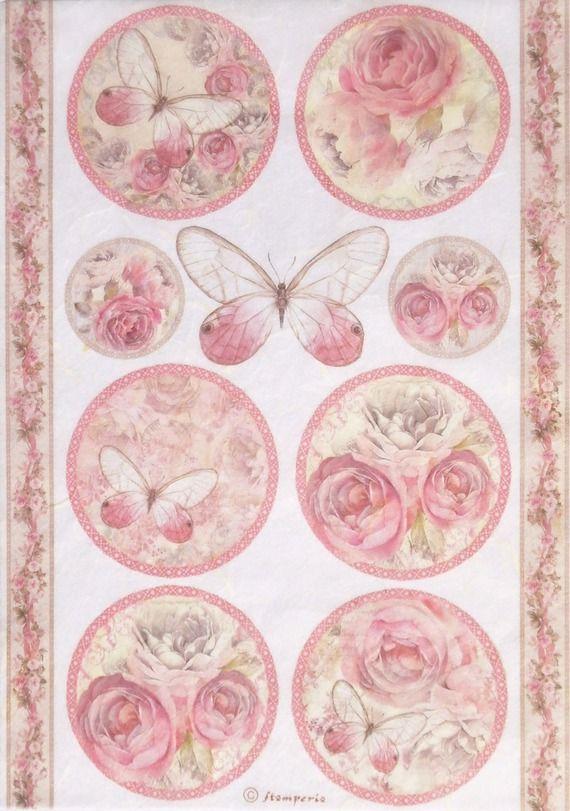 Papier de riz pour decoupage scrapbooking feuille Craft vintage roses et papillon
