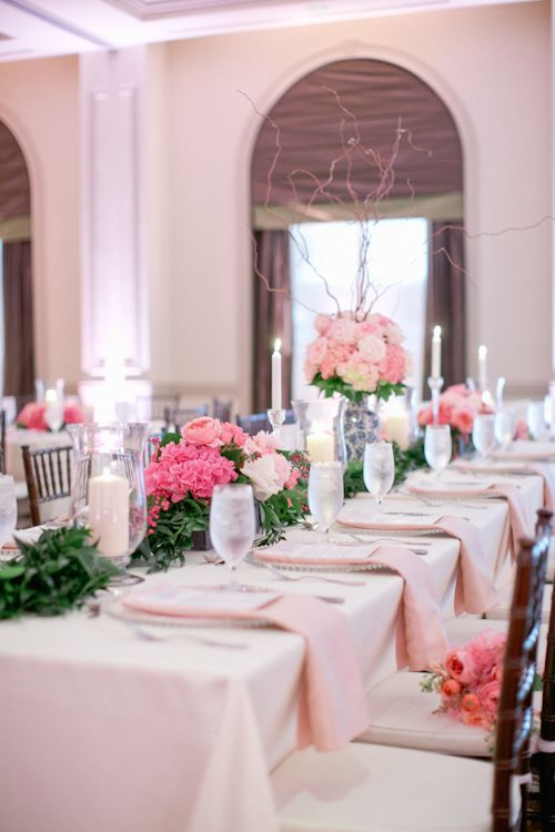 Pretty pink and blue themed wedding at The Westin Savannah Harbor, photos by Harwell Photography | via junebugweddings.com