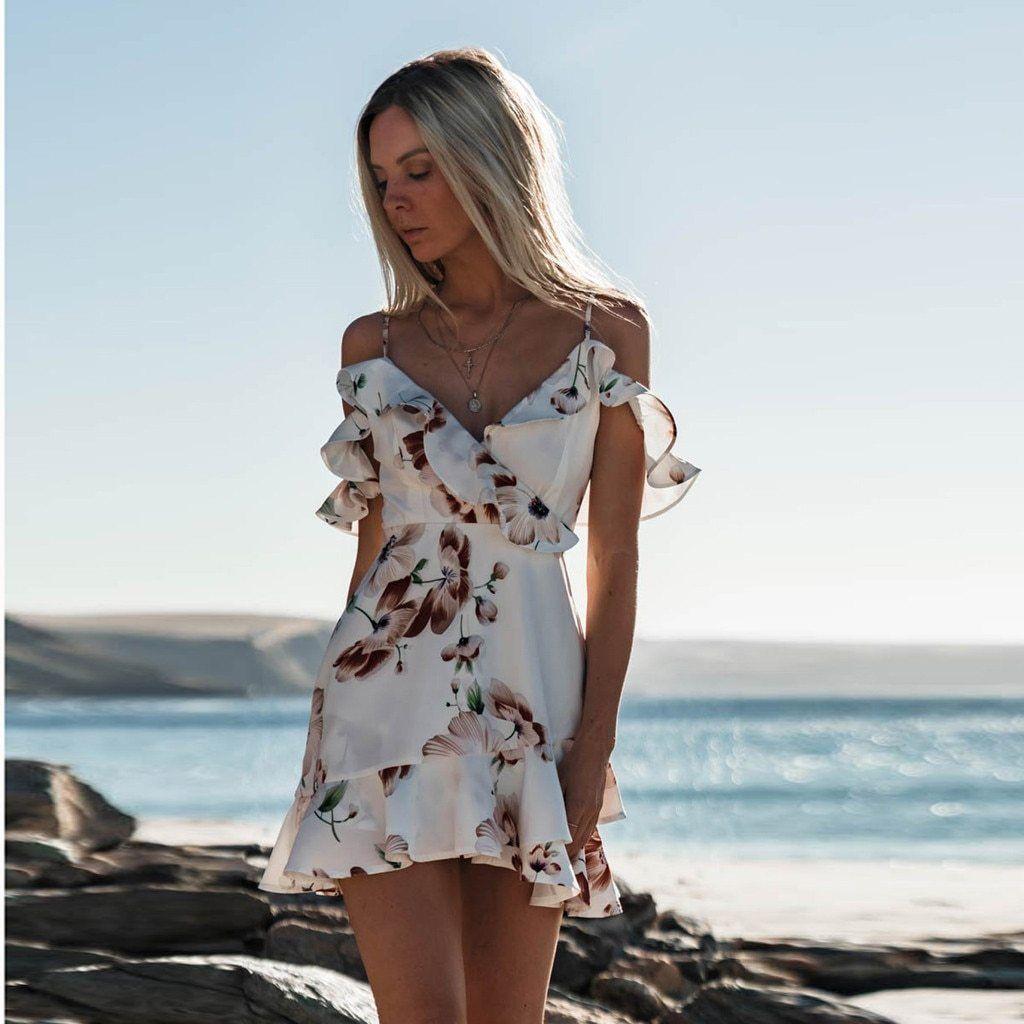 Sharon Floral Printed Off Shoulder Dress Mini Dress Casual Casual Dress Casual Dresses For Women