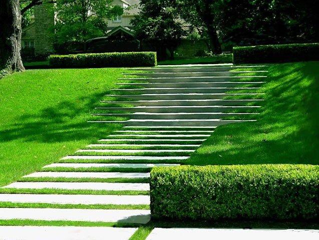 Wide Landscape Walkway Modern Landscaping David Wilson Garden Design Austin,  TX