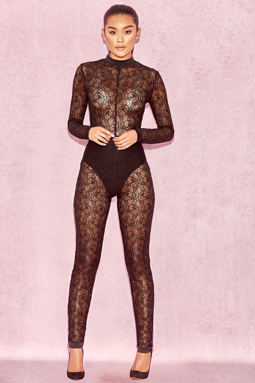2c99b79a3fc Clothing   Jumpsuits    Rudi  Black Sheer Lace Jumpsuit