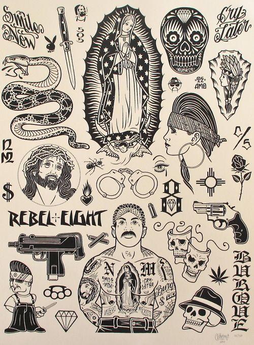 Small Art Tattoo Designs: Chicano Tattoos, Old School Tattoos