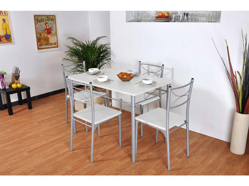 Ensemble Table Rectangulaire 4 Chaises Tuti Coloris Blanc