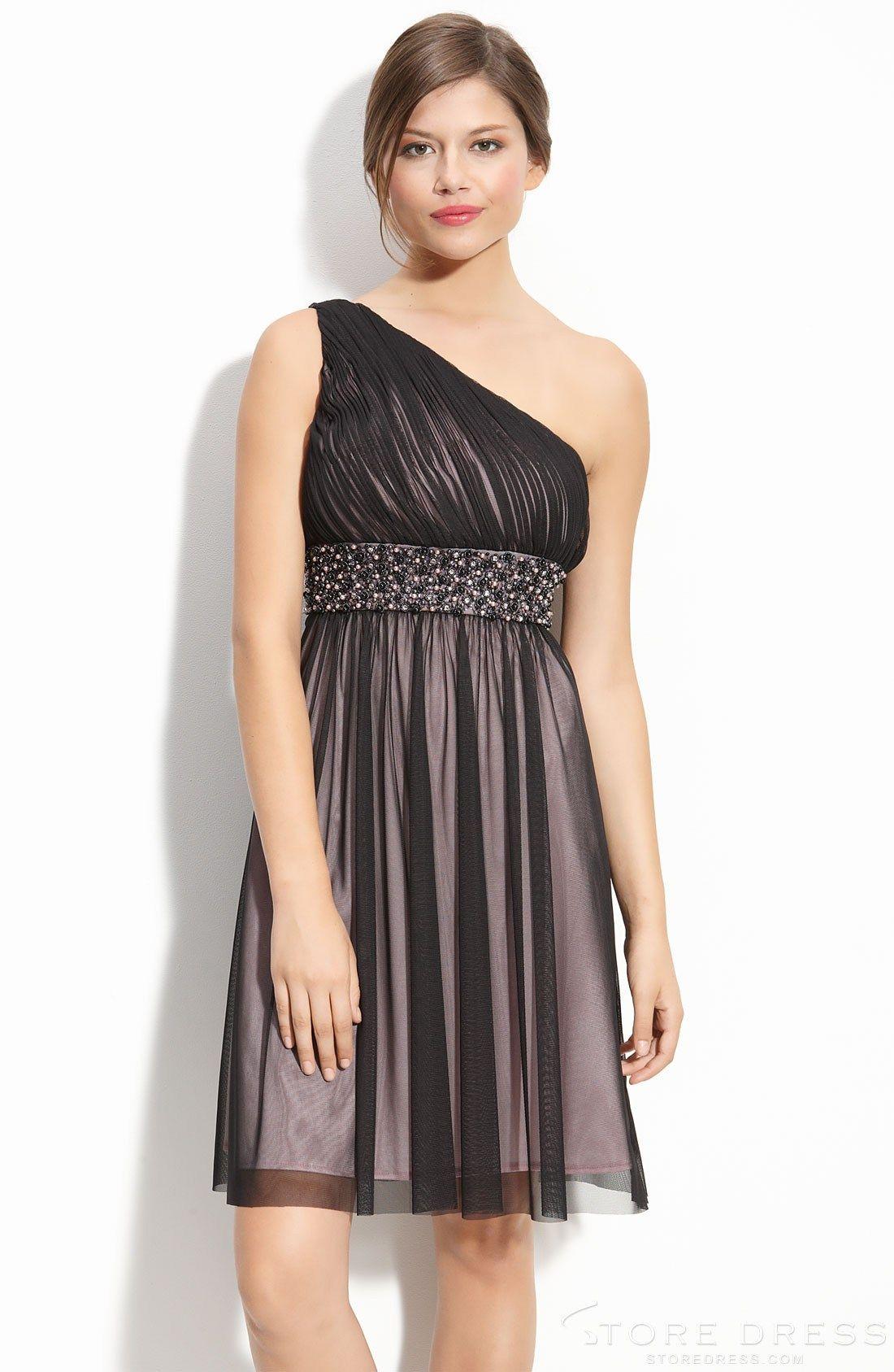 Ruffles sheath column oneshoulder kneelength bridesmaid dress