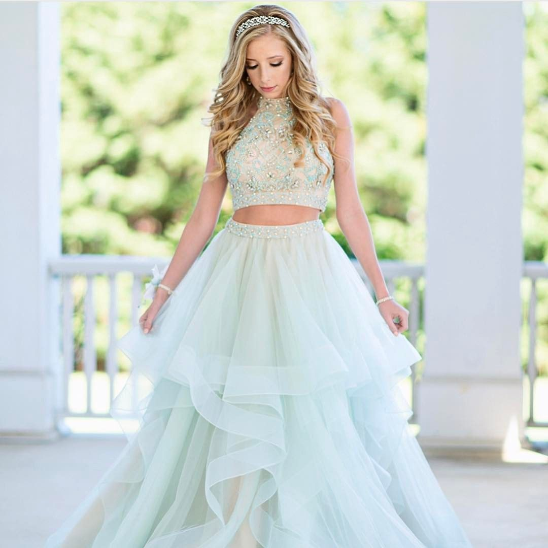 Two Piece Mint Green Long Prom Dress Party | Prom dress | Pinterest
