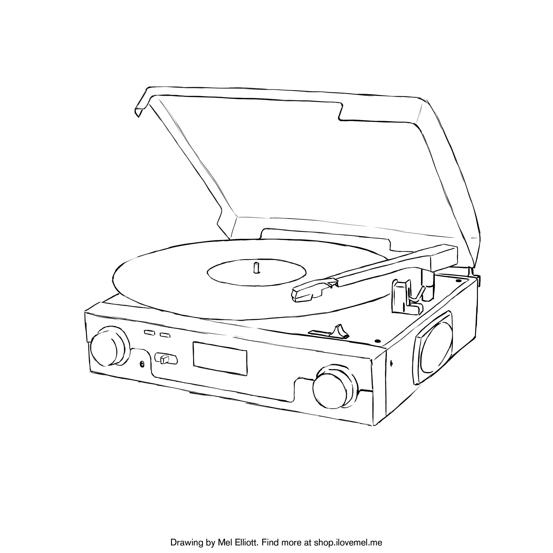 free printable coloring page record player u2013 i love mel art