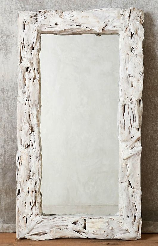 White Washed Driftwood Wall Decor | Floor mirror, Driftwood and Coastal