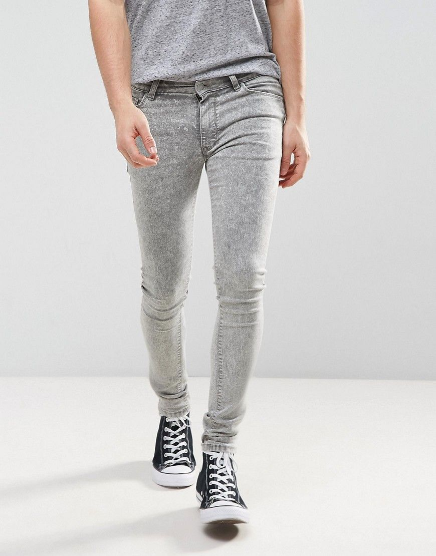 72d7c79838 ASOS Extreme Super Skinny Jeans in Light Gray Acid Wash - Gray ...