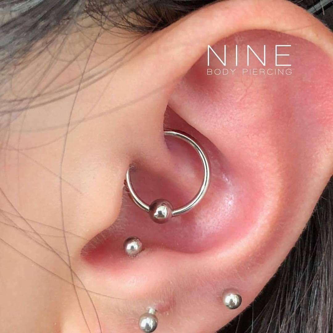 Piercing nose at home  Fresh Daith with Anatometal Captive Bead Ring Anatometal
