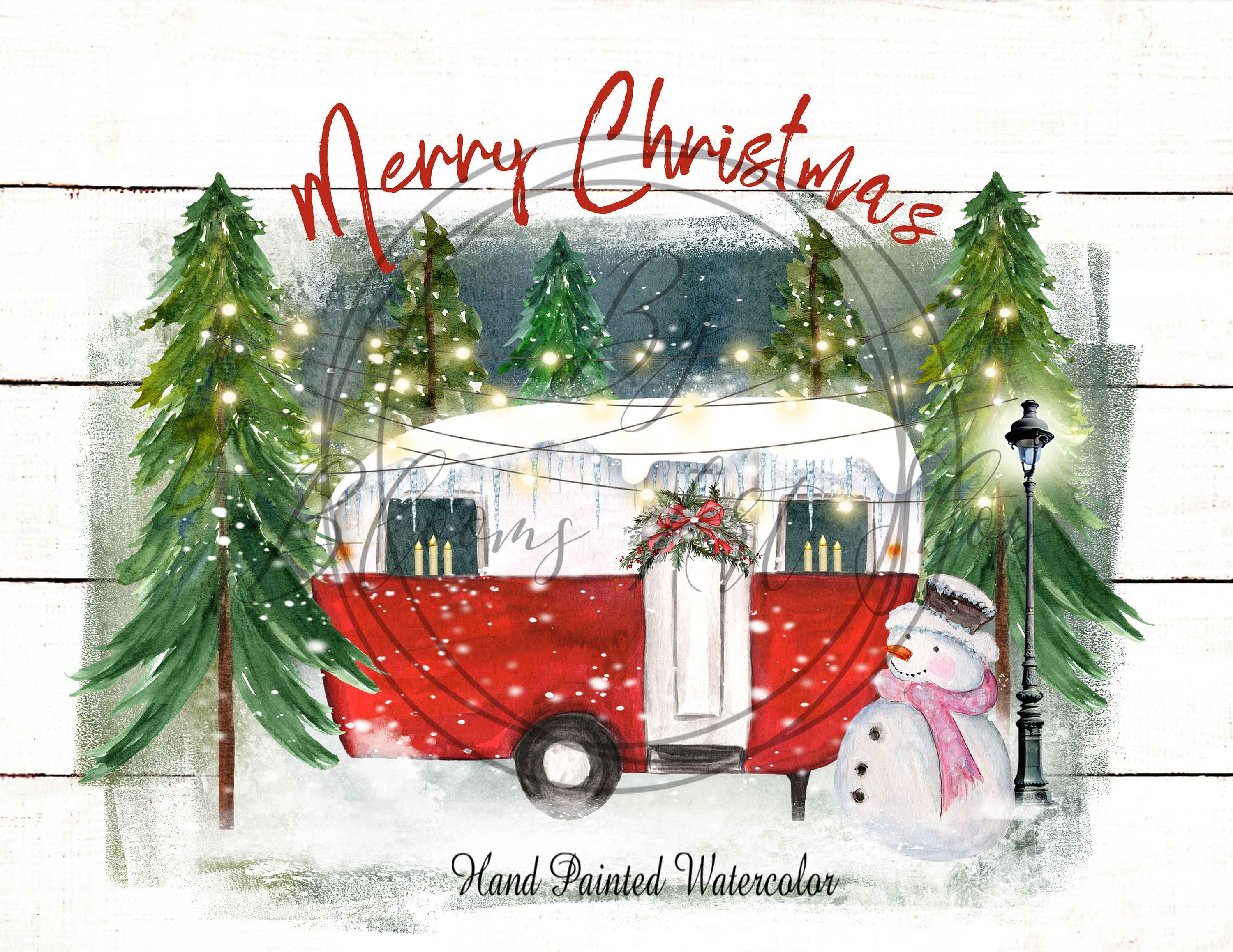 2021 Christmas Trailers Red Camper Trailer Christmas Camper Sublimation Merry Etsy In 2021 Christmas Paintings Christmas Cards Etsy Diy Christmas Ornaments