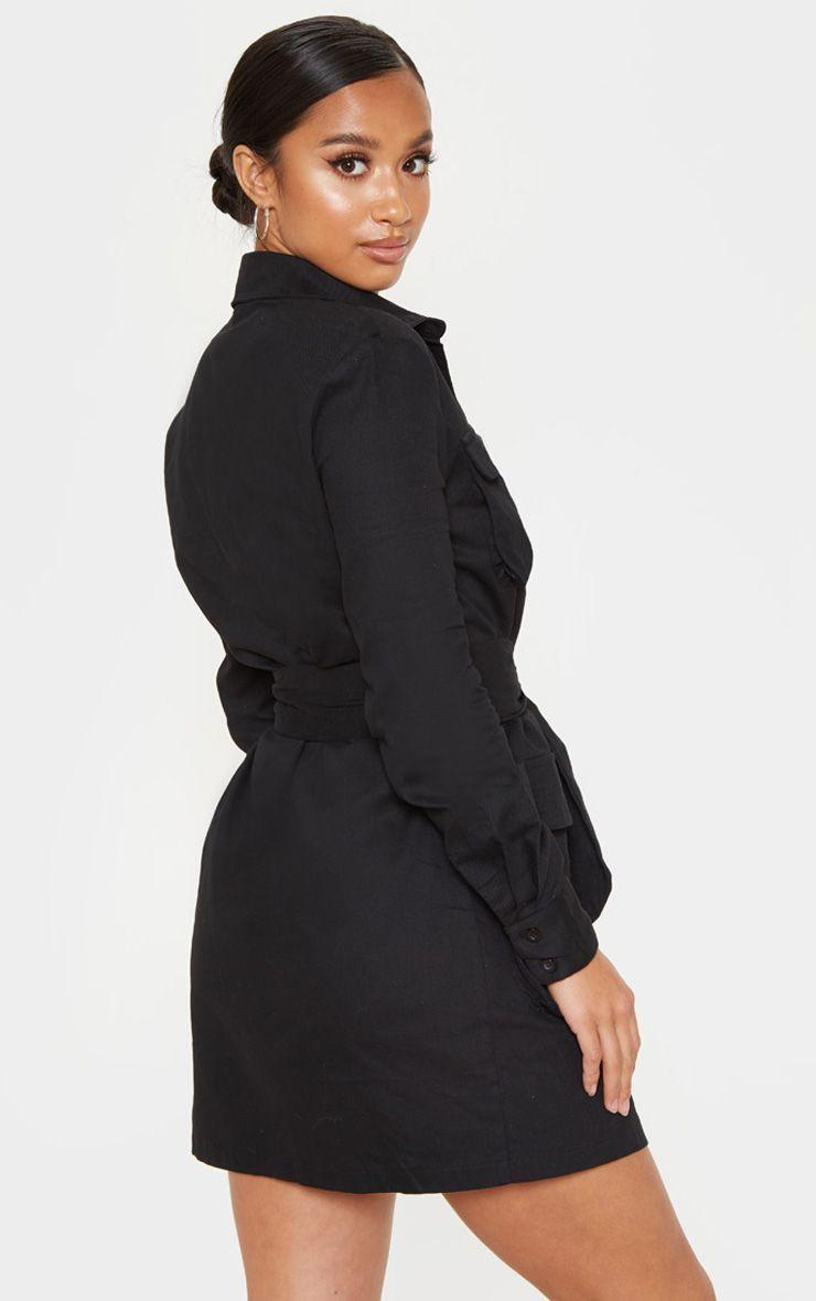 9f3d944cbcf39 Petite Black Utility Tie Waist Shirt Dress in 2019 | Products ...