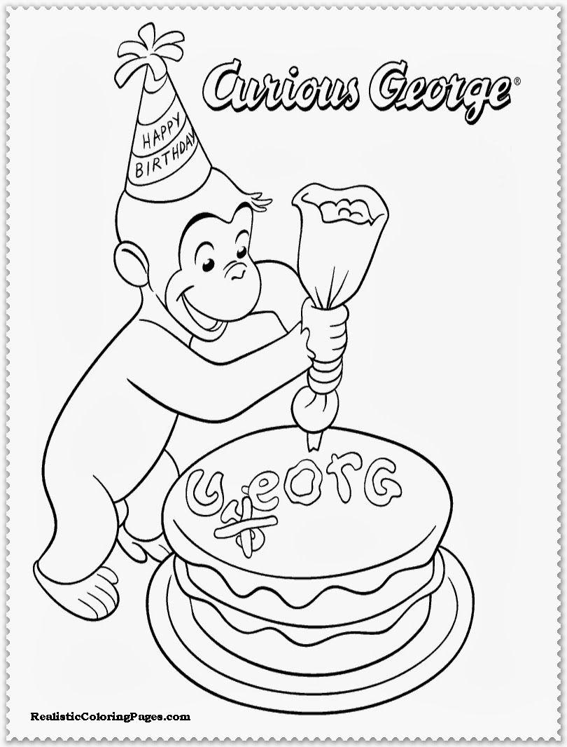 Curious George Birthday Coloring Pages Geburtstag Malvorlagen Curious George Party Kostenlose Ausmalbilder