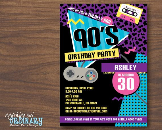 90s Birthday Party Invitation 1990s Flashback Party Invites 90s
