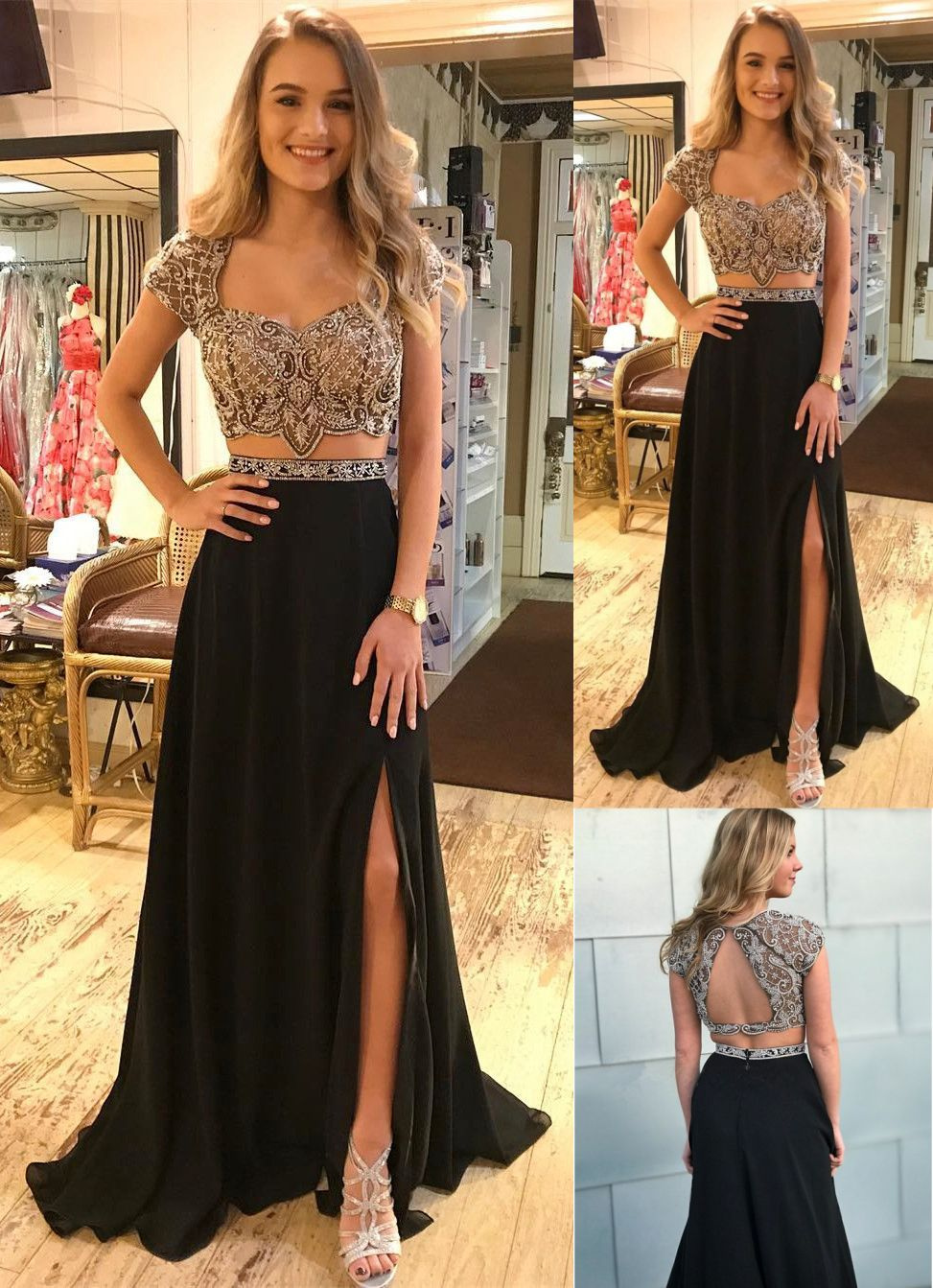 Two piece scoop cap sleeves open back black prom dress with beading