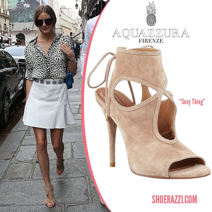 Olivia Palermo was spotted wearing Aquazzura Sexy Thing cut-out sandal  booties while out in