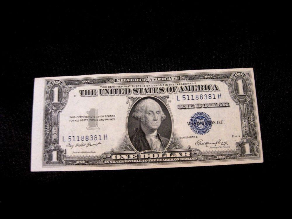 1935 E One Dollar Bill Silver Certificates Blue Seal L5118838h Error