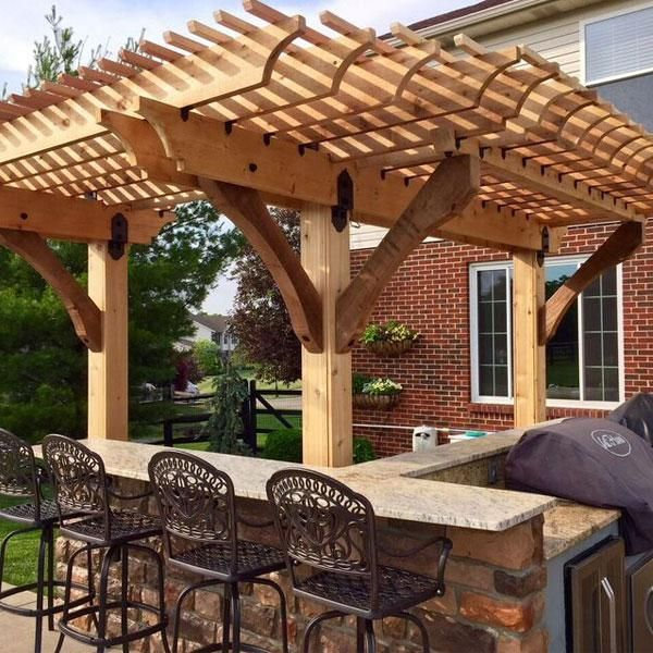 Pergola Joist Designs: This Image Features A Pergola, Built Over A Patio Grill