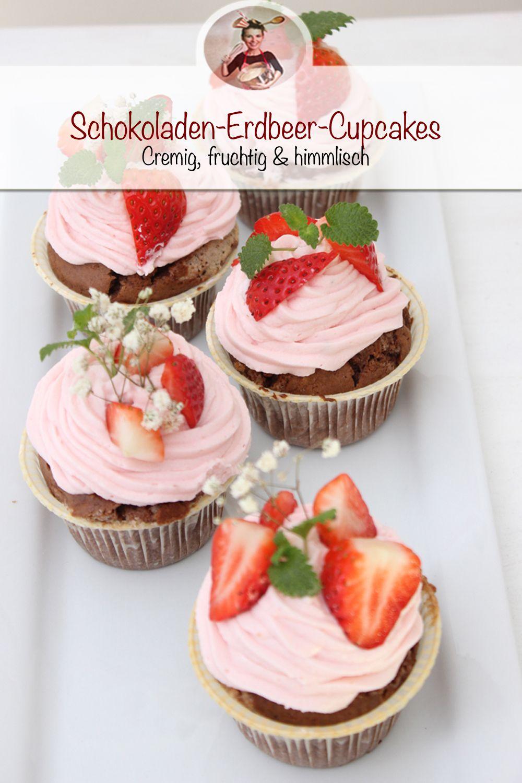 Schokoladen-Erdbeer-Cupcakes | Wunderbar cremig & himmlisch #cupcakesrezepte