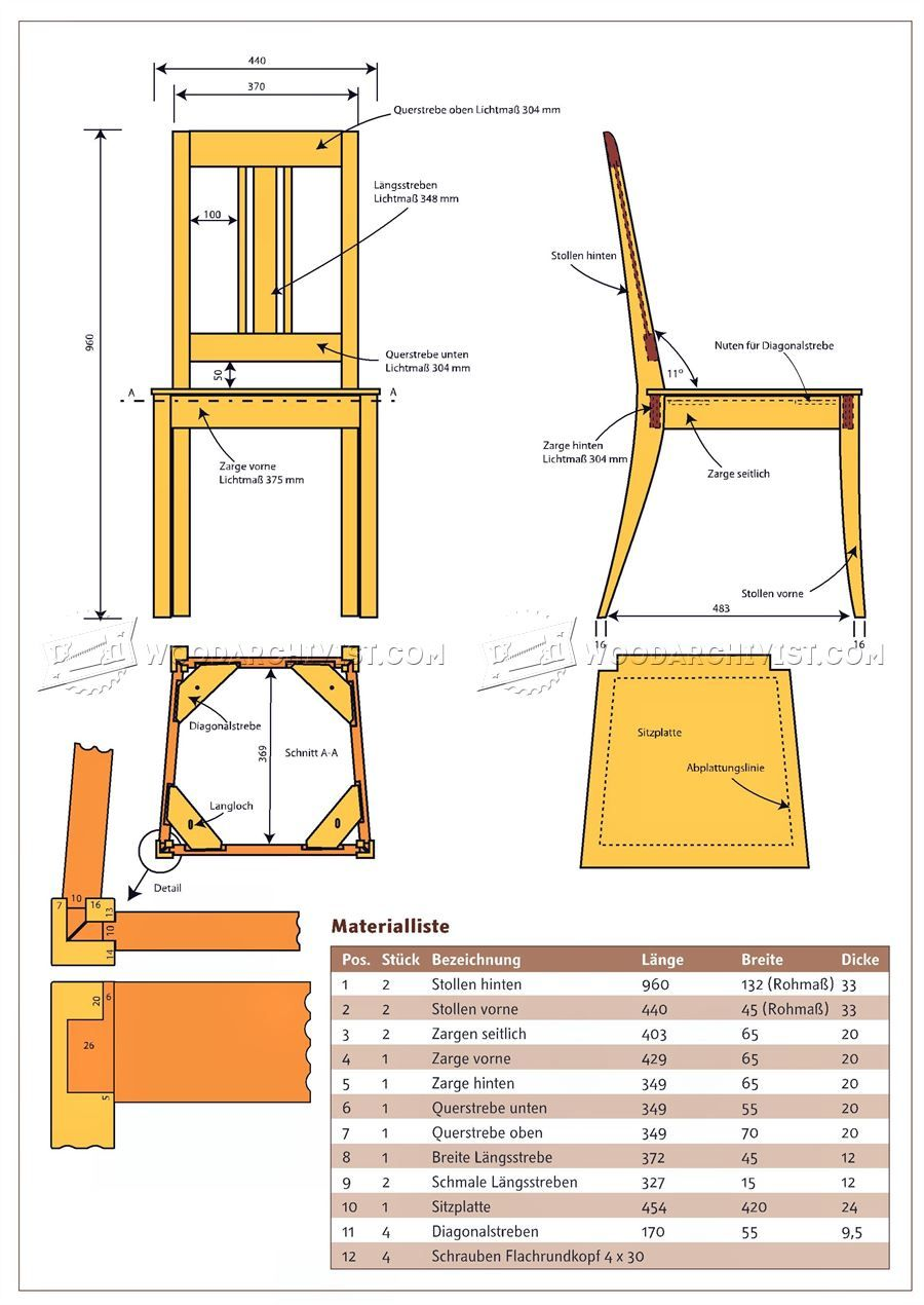 7 Dining Chair Plans - Furniture Plans and Projects  Sillas de