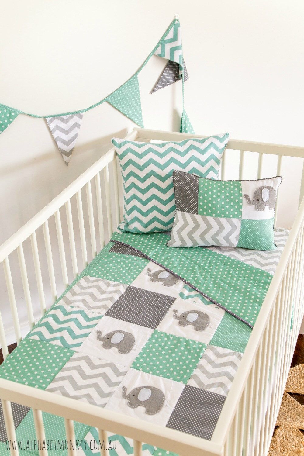 Preorder pachy the elephant baby crib quilt in mint and gray by