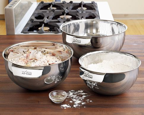 All Clad Stainless Steel 3 Piece Mixing Bowl Set I M Still Using Plastic Mixing Bowls I Got Plastic Mixing Bowls Mixing Bowls Set Stainless Steel Mixing Bowls