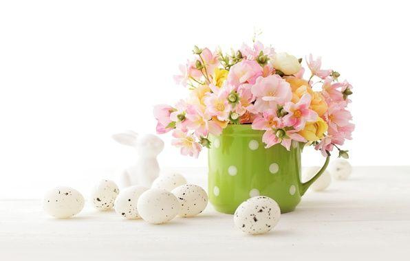 Фото обои цветы, Пасха, flowers, spring, Easter, eggs ...
