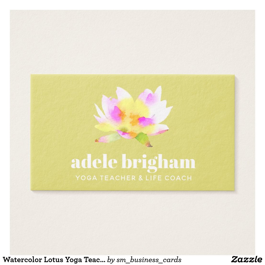 Watercolor Lotus Yoga Teacher and Life Coach Business Card | Yoga ...