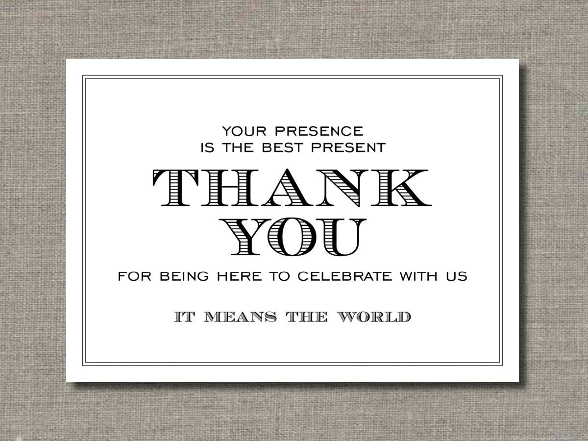 Wedding Thank You Note Wording: Printable Wedding Poster, Table Sign