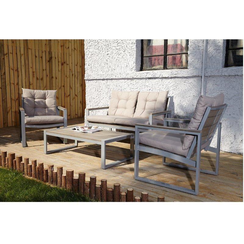 Salon de jardin 4 places en Polywood BEIGE - Maison Facile : www ...